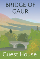 Logo of accommodation by Rannoch Moor showing the Bridge of Gaur in 1940s Poster Style