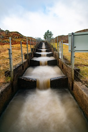 Fish ladder running through fields