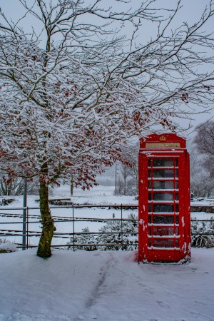 Winter phone booth